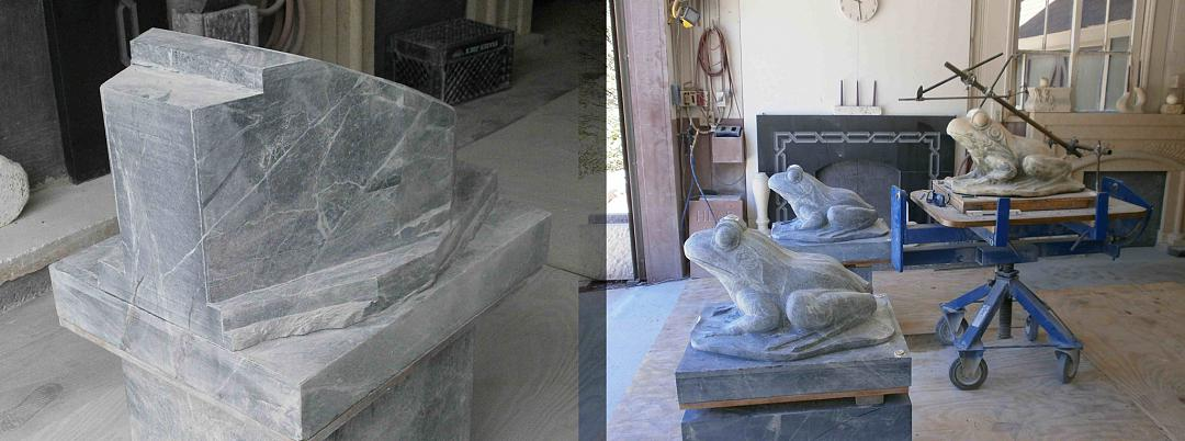 Fountain Frogs carved from Verde Marble blocks for Thornton Gardens, San Marino, CA. Progress pictures